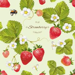 Vector strawberry seamless pattern.