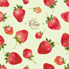 Vector strawberry tea seamless pattern.