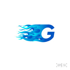 letter G logo,fire fast speed,blue