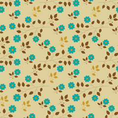 Seamless pattern with blue flowers. Floral background