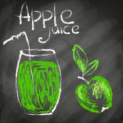 Fruit juice on the chalkboard