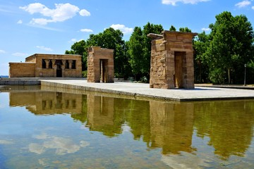 Ancient Egyptian Temple of Debod with reflections, Madrid, Spain