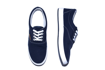 dark blue sneakers on a white background