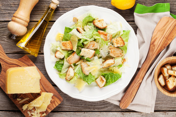 Fresh healthy caesar salad cooking