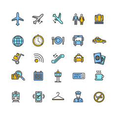 Airport Outline Colorful Icon Set. Vector
