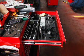 Set of mechanical tools for garage. Home car repairing, handyman concept