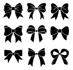 Set of graphical decorative bows. Vector icon collection