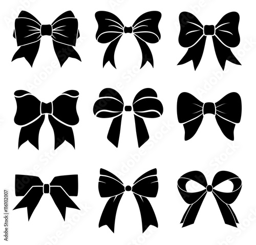set of graphical decorative bows vector icon collection stock rh fotolia com bow vector black and white bow vector free download