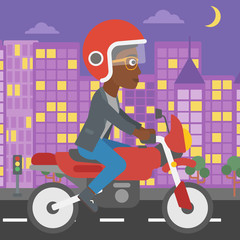 Woman riding motorcycle vector illustration.