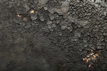 Black old metal background. The surface of the pan. Toned