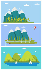 Poster Turquoise Flat design nature landscape illustration with sun, hills and clouds.