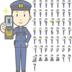 警察官の若い男性vol.2(車椅子・指示棒・PCなど, 様々な表情やポーズのイラストをセット)