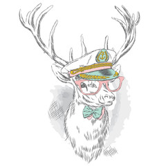 Beautiful deer in the captain's cap, glasses and tie. Vector illustration for a card or poster. Print on clothes and accessories.