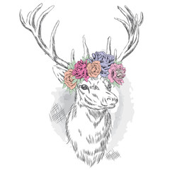 Beautiful deer in a wreath of flowers. Vector illustration for a card or poster. Print on clothes. Hipster.