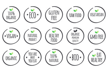 Vector symbols with leaves. 100% Organic, Eco, Gluten Free, Raw Food, Vegetarian, Vegan, Natural Product, Healthy Food, Premium Quality, Gmo Free, You are what you eat, Bio, Eat Healthy.