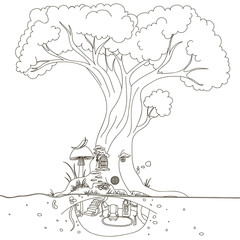 Magic Tree house. Hand drawing isolated objects on white background. Vector illustration.