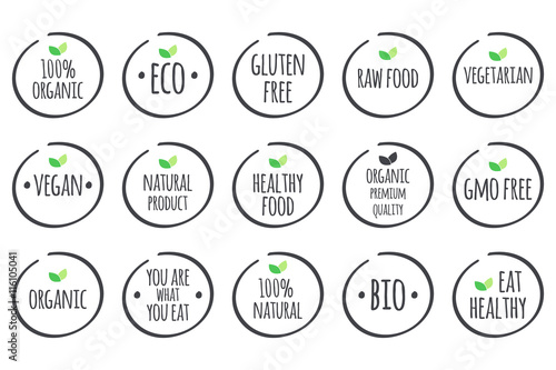Vector Symbols With Leaves 100 Organic Eco Gluten Free Raw Food