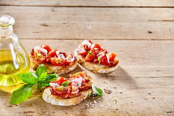 Traditional Italian bruschetta appetizers