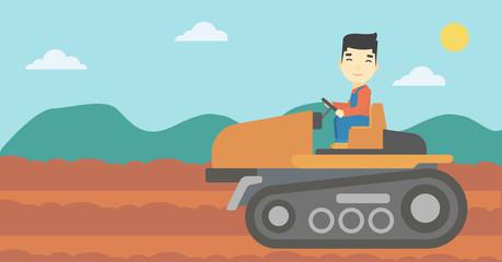 Farmer driving tractor vector illustration.