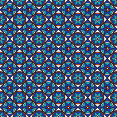 Seamless pattern of different geometric shapes.
