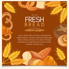 Fresh bread bakery products background buns pastries vector