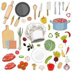 Food ingredients collection cap cook fresh vegetables cooking