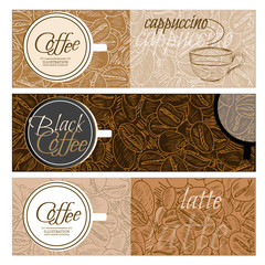 Coffee banner templates black coffee latte cappuccino