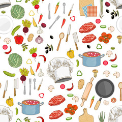 Food ingredients collection seamless pattern vector