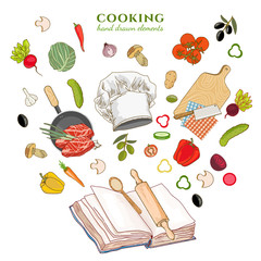 Cookbook creative cooking hand drawn vector