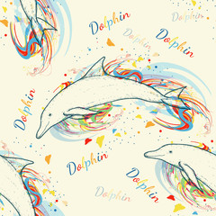 Dolphins seamless pattern hand drawn vector