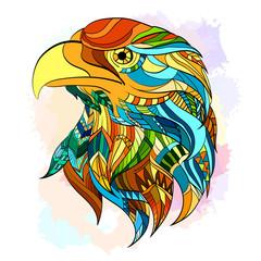 Ethnic patterned head of eagle beautiful eagle