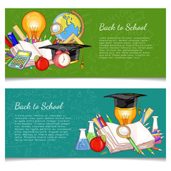 Back to school banner education background vector illustration