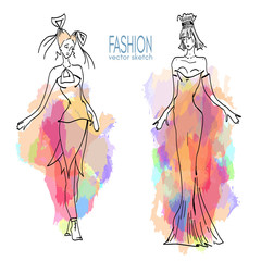 Fashion models vector sketch