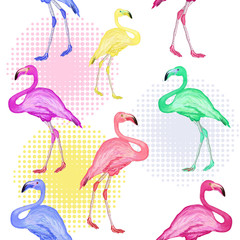 Flamingo seamless pattern hand drawn vector