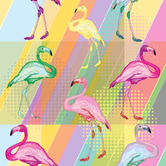 Colored flamingo seamless pattern
