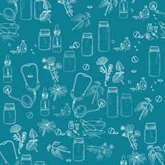 Herbal medicine seamless pattern hand drawn elements
