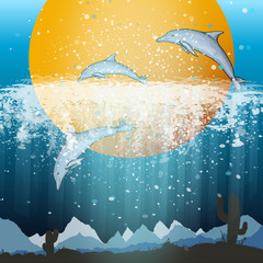 Dolphins jumping vector cartoon