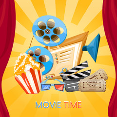 Movie time cinema old projector tickets pop corn and 3d glasses