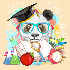 Education hipsters animals students panda goes to school vector
