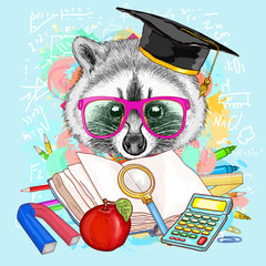 Education hipsters animals students raccoon goes to school