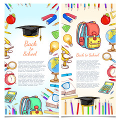 Education banners back to school template school tools vector