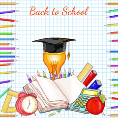 Back to school concept education school subjects open book exam