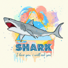 Shark on a colored background tattoo art great white shark