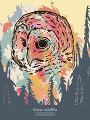 Owl in the forest save wildlife vintage poster vector
