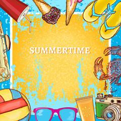 Summertime template hot summer background