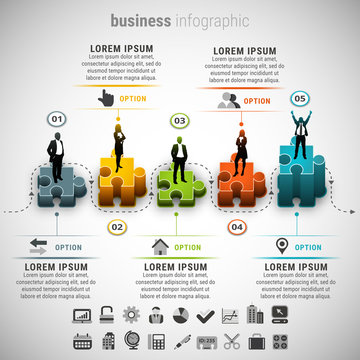Business Infographic. Vector illustration of business infographic made of stickers. 23 icons inside file. ZIP includes free font link, EPS10, AI, PSD and high resolution JPEG files.