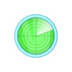 Radar icon in cartoon style isolated on white background. Installation symbol