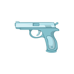 Gun icon in cartoon style isolated on white background. Weapons symbol