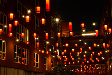 red lanterns in Chinatown, los angeles