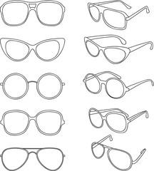 Vector line illustration of sunglasses frames
